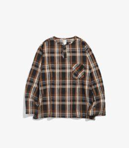 〈SOUTH2 WEST8〉HENLEY NECK SHIRT - PLAID TWILL / BRN/TAN/YEL ¥13,200